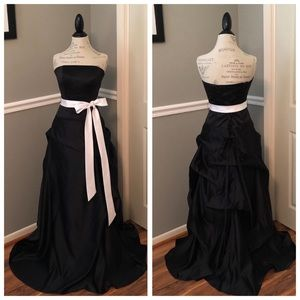 BLACK SATIN STRAPLESS BALL GOWN WITH WHITE SASH